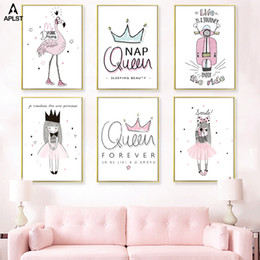 painting crown NZ - Cartoon Girls Canvas Wall Art Prints Painting Queen Crown Quote Flamingo Posters Picture Decor for Nursery Baby Infant Kids Room