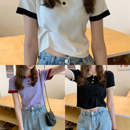 Wholesale long sleeve polo for women for sale - Group buy Korean polo collar contrast color T sleeve ins high waist navel short bm shirt short sleeve t shirt for women