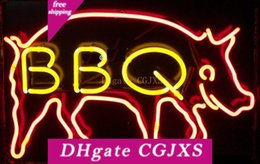 Wholesale neon bbq sign online – design New Bbq Pig Neon Sign Real Glass Tube Bar Club Room Handmade In The Wall Game Room