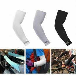 cooling arm sleeves UK - 8 Colors Cooling Arm Sleeves Cover UV Sun Protection Outdoor Sports Riding Cycling Arm Sleeves ZZA2322 BLQN#