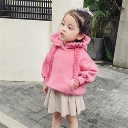 2020 Baby Girls Clothes Autumn Winter Children Kids Warm Fleece Outerwear Girls Solid Hooded Sweatshirt Top Shirt 3 Colors Children Clothing