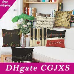 Wholesale piano print online – design Alphanumeric Piano Design Pillowcase d Digital Printing Flax Pillow Case Home Sofa Car Set Cushion Cover