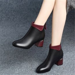 Wholesale shoes zips back resale online – 2020 Autumn Winter Warm High Heel Round Toe Ankle Boots for Women Fashion Leather Shoes Woman Back Zip Motorcycle Booties Mujer