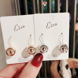 Wholesale animals song online – design Song Huiqiao boyfriend and same style Korean Dongdaemun simple temperament personalized metal ball trendy earrings earrings for women LWI2y