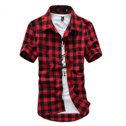 Wholesale black red checkered shirt for sale - Group buy Red And Black Plaid Shirt Men Shirts New Summer Fashion Chemise Homme Mens Checkered Shirts Short Sleeve Shirt Men Blouse