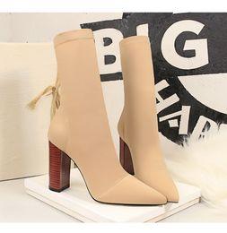 Wholesale block b online – oversize Autumn Winter Mid Calf Boots New Stretch Sock Boots Chunky Block Heels High Heels Fetish Sexy High Heeled Boot Silk Shoes Women Boot