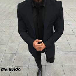 Wholesale plus size long trench coats resale online - Gentlemens Trench Coat New Fashion Designer Men Long Coat Autumn Winter Single breasted Windproof Slim Trench Men Plus Size