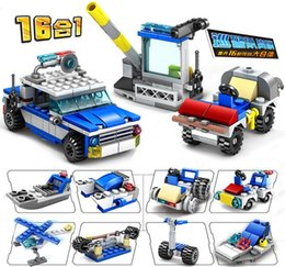 educational blocks robots 2021 - 16in1 Robot Aircraft Helicopter City Police Station Bricks Truck Car Building Blocks Educational DIY Toys for Boys Children 07