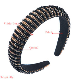Beaded Thick sponge Headband for Woman Luxury Full Colorful Crystal Wide Hair Hoop Brida Wedding Hair Accessories on Sale