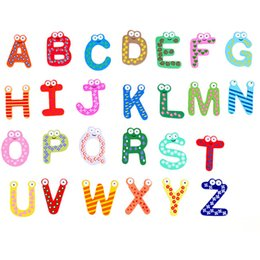 fridge word magnets NZ - Baby Letters Toys Cartoon Fridge Magnets Kids Wooden Alphabet Fridge Magnet Child Educational Lnteresting Toy Gift 26pcs lot WX-C47