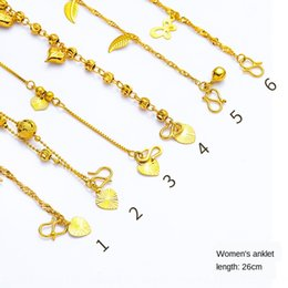 copper anklets NZ - Anklet summer women's Jewelry gold-plated imitation gold reading 24k gold jewelry love water ripple women's anklet