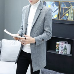Wholesale mens vintage wool coat for sale - Group buy Woolen Trench Coat Men Mid Length Solid Slim Korean Joker Overcoat Wool Jacket Mens Clothing Streetwear Vintage Fashion Abrigo