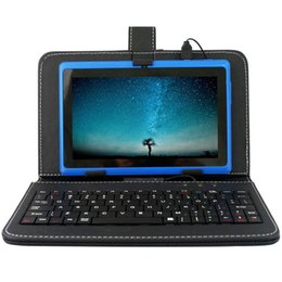 Wholesale leather micro mini resale online - Cgjxs7 Inch Keyboards Leather Cover Cases Flip Stand Mini Usb Micro Usb For Q88 Tablet Pc