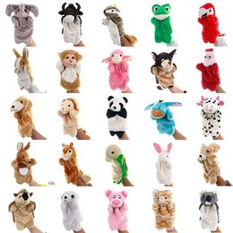 Discount educational puppets Animal Plush Hand Puppets Soft Toy Cartoon Dolls Puppets Plush Toys Baby Educational Stuffed Pretend Telling Story Doll For Children Gifts