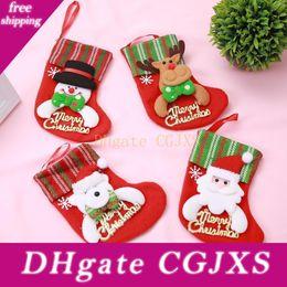 Wholesale old man socks for sale – custom Christmas Decorations Cartoon Old Man Letter Socks Children Gift Candy Bag Christmas Tree Stripes Hanging Jxw222