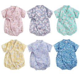 Wholesale baby kimonos resale online - 0 Years Baby Girl Boys Clothing Rompers Jumpsuit Short sleeved Floral Print Bathrobe Soft Cotton Baby Kimono Newborn Sleepwear