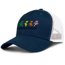 blue trucker cap NZ - Grateful dead five dancing bears Adjustable Trucker Cap Fashion Baseball Hat Vintage Dad Ball Caps for Men Women bear blue yellow Dead