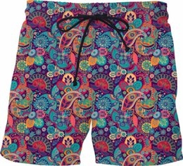 mens patterned shorts Canada - 2020 Fashion Paisley pattern Full Printed Mens Shorts Unisex Streetwear Elastic Waist Shorts Summer Beach Harajuku Casual