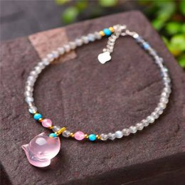 copper anklets NZ - Natural Pink Fox anklet gray moonlight Jewelry Gift stone women's anklet jewelry gift for girlfriend