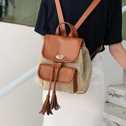 Designer- Designer Backpack for Women Designer Travel Backpack Ladies Woven Casual Straw Bag High Capacity Bag for Teenage Drop Shipping
