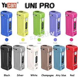 Auténtico Yocan Uni Pro Battery Vape Mods 650mAh Precalentamiento VV Baterías de altura y anchura ajustables para adaptarse al cigarrillo de 510 cartucho de aceite en venta