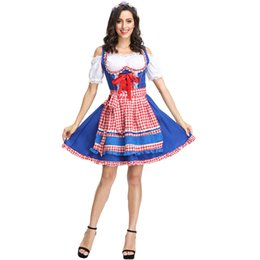 Wholesale plus size maid cosplay resale online - M XL plus size German Oktoberfest Sexy Maid Costume Ladies Festival Stage Performance