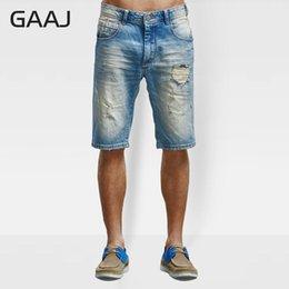 Wholesale patch denim shorts resale online – designer GAAJ Brand New Men Shorts Denim Jeans Ripped Jean Hip Hop Summer Casual Cotton Frayed Hole Patch Short Biker M8