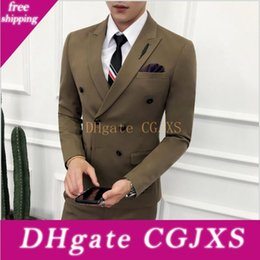 three piece suit for man style NZ - Latest Design Autumn Men Suits Three Piece (Blazer Pant Vest )Handsome Double Breasted British Style Men Trim Fit Suits Sets For Sale