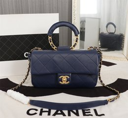 navy chain handbag Australia - European Fashion Female Square Bag 2020 New Quality PU Leather Women's Designer Handbag Rivet Lock Chain Shoulder Messenger bags 68926