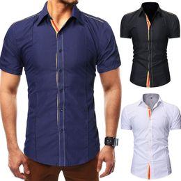 Wholesale formal shirts new fashion for sale – dress 2020 New Summer Fashion Mens Casual Shirt Slim Fit Casual Shirt short Sleeve Formal Dress Shirts Men Male Clothing