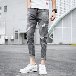 Wholesale jeans grey resale online – designer Denim Jeans men s slim feet summer thin men s trousers Korean casual men fashion ripped grey ankle length pencil pants men