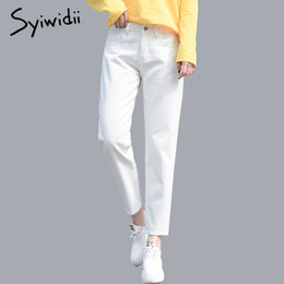 Wholesale ripped jeans woman resale online - Cotton White Ripped Jeans for Women High Waist Harem Mom Jeans Plus Size Sky Blue Pants Black FASHION for Women Jeans beige CX200815