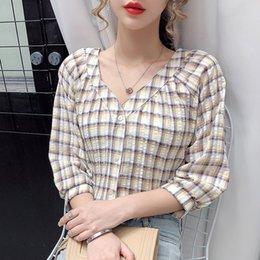 Wholesale korean casual tops design online – awzjW V neck plaid Summer new women s Korean style design sense niche Top Shirt shirt casual temperament top