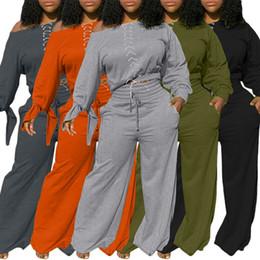 Wholesale women dress suits resale online – Off Collar Outfit Women Tracksuit Off Shouler Sweater Suit Plus Size Sport Wear Jogging Sportwear Set Solid Color Casual Dress Two pc