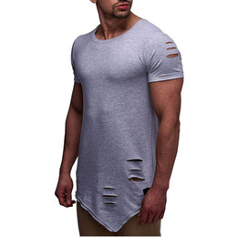 Discount swag t shirt tops tees men Ripped Longline Irregular T Shirt Men Short Sleeve Cotton Breathable Hole Thin Tshirt Homme Tyga Swag Hip Hop Hi Street Top Tees