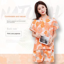 tartan clothes wholesale NZ - X5sei Pink Lotus brocade nylon furnishing hotel loose set women's clothing Pink Lotus brocade nylon Bathrobe Home furnishing hotel home loos