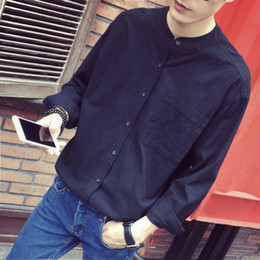 Wholesale stand collar black shirts for sale - Group buy Men s Linen Shirt Youth Thin Solid Color Loose Stand Collar Shirt Black Simple Inch Clothes