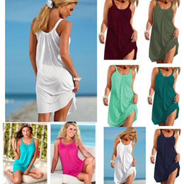Wholesale dresses for womens for sale – plus size Womens Dress Summer Newest Casual Dress Loose Strap Sexy Suspender Women Beach Dress for Women Multi Colors