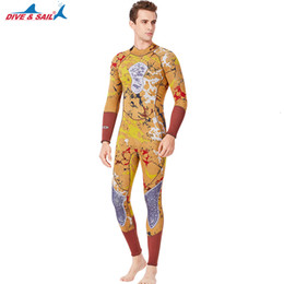 thermal suits Australia - Men's 3mm Thermal Warm UV Sun Protective Full Wetsuit Stretchy Diving Suit Yellow Printed Wet Suits One-piece Jumpsuit Back Zip