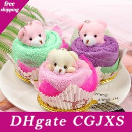 mini compressed towel UK - Mini Bear Cup Towels Cake Pack Hand Towels Face Washing Towel