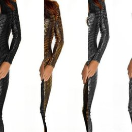 pole dancing clothing NZ - 9dP8f Fat Man nightclub DS female pole dance Leather Clothing clothing hot dance suit one-piece leather coat snake skin tight zipper temptat