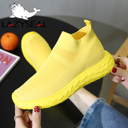 Discount rhinestone flat ankle boots LazySeal New Air Mesh Women Platform Ankle Boots Shoes Woman Breathable Round Toe Slip-on Flats Women Sneakers Ladies Fo