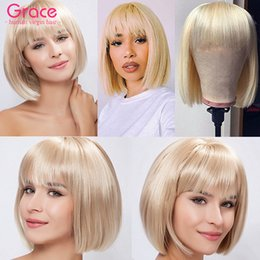 Discount peruvian lace wigs Blonde Human Hair Short Bob Wigs With Bangs For Black Women Pixie Cut Peruvian Remy Straight Glueless Wig Pre Plucked 61