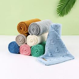 Wholesale purple knit blanket resale online - High Quality Baby Knitted Blankets Newborn Swaddle Wrap Stroller Blankets Soft Infant Bedding x120cm kocyk dla dziecka