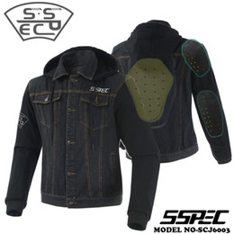 Wholesale mens denim hoodie for sale - Group buy SSPEC Mens Denim Motorcycle Jacket Four Seasons Motorbike Racing Protective Gear Jacket chaqueta moto Clothing Sweatshirt hoodie