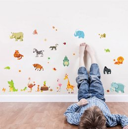 giraffe decorations NZ - funny happy animals Zoo cute dinosaur zebra giraffe snake diy home decal wall sticker for kids roon baby nursery decoration gift
