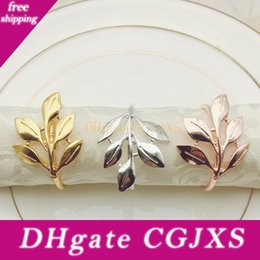 metal maple leaf NZ - Maple Leaf Napkin Ring 3 Colors Metal Leaf Napkin Holder Creative Napkin Buckle Towel Ring Hotel Articles