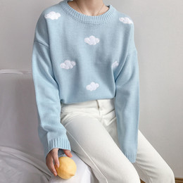 Wholesale computer cloud for sale - Group buy Kawaii Printed Women Sweaters Spring Autumn Knitted Sweater Female Casual Loose Clouds Sweater Ladies Outwear Clothes New