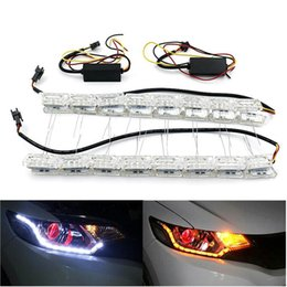 led bar signal car NZ - Cgjxs 1 Pair Car Flexible White  Amber Crystal Led Drl Daytime Running Strip Light Turn Signal Flowing Steering Bar Headlight