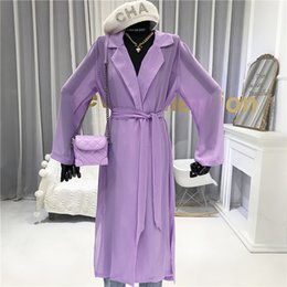 Wholesale high collar trench resale online - Long Trench Coat for Women Summer Thin Turn down Collar Adjustable Waist Wide waisted High Street Chiffon Coats Women